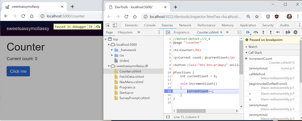 HOLY CRAP IT IS DEBUGGING C# IN CHROME