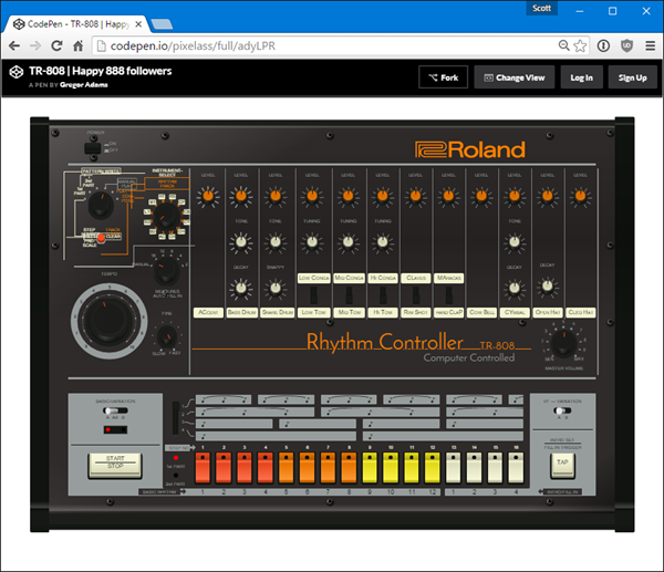 Magical Roland 808 written in CodePen