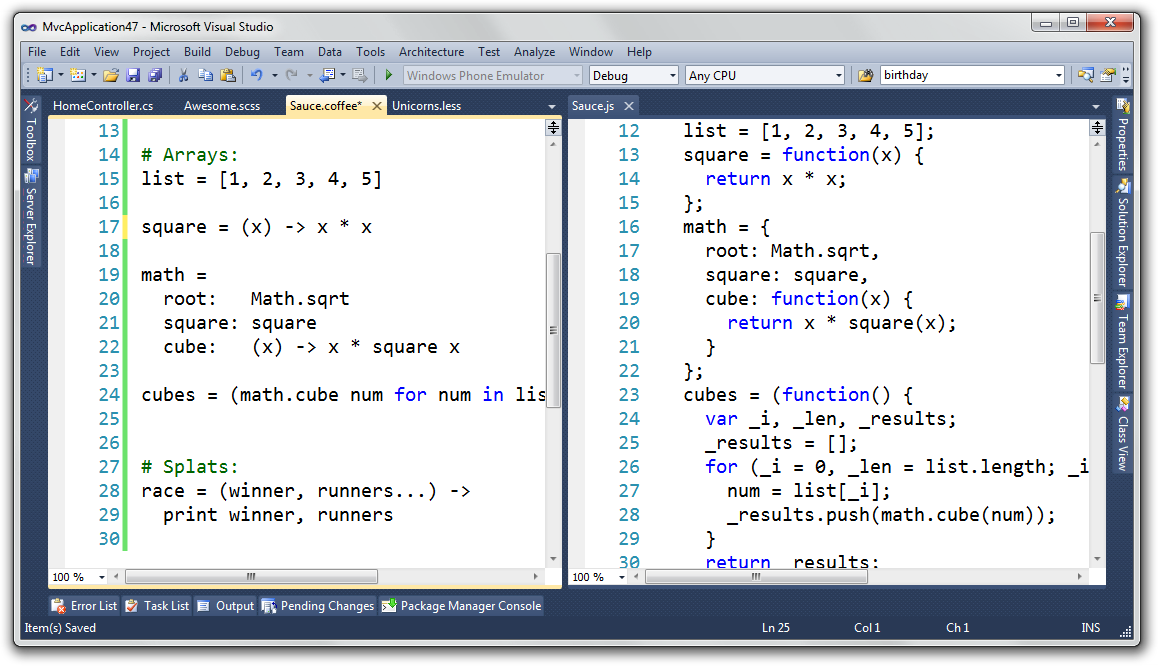 CoffeeScript, Sass and LESS support for Visual Studio and