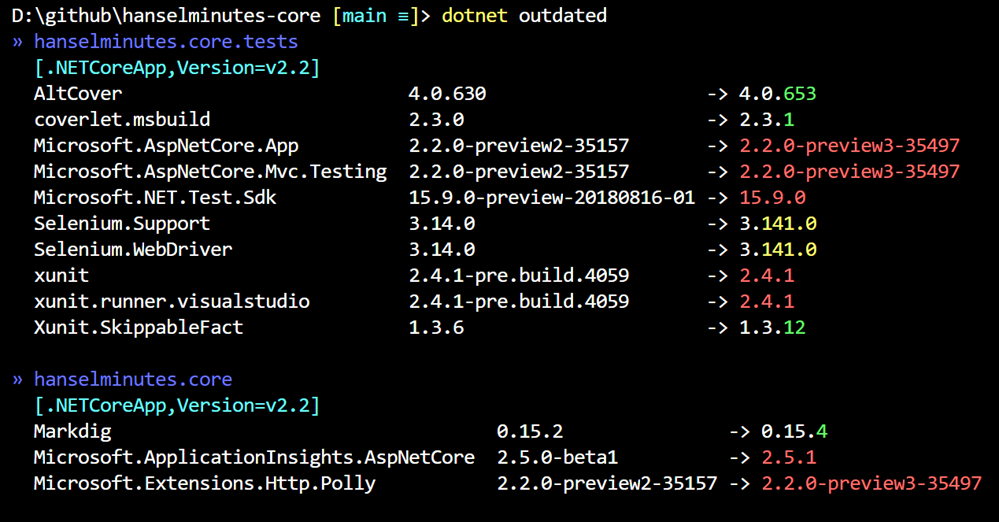 dotnet outdated says there's a few packages I need to update