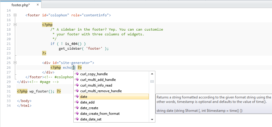 PHP Editor has intellisense