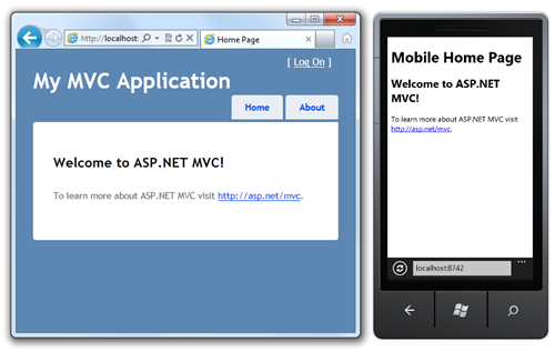 Desktop ASP.NET MVC Application next to the same application in a mobile browser