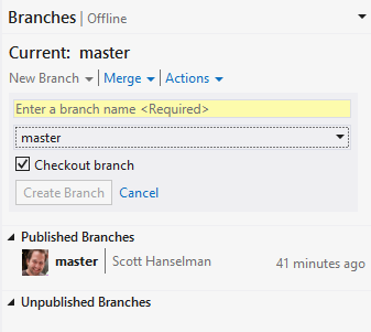 branching in Git in VS