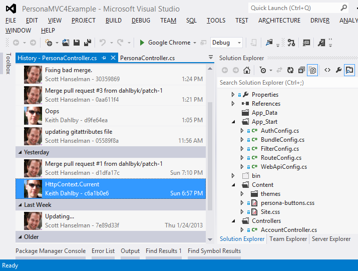 Git support for Visual Studio - Git, TFS, and VS put into