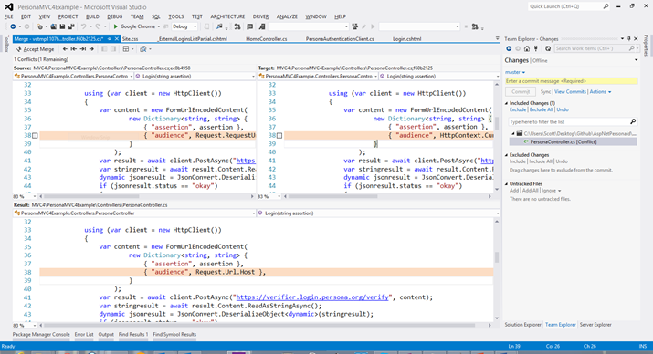Diff/Merge Conflict within Visual Studio with Git Support.