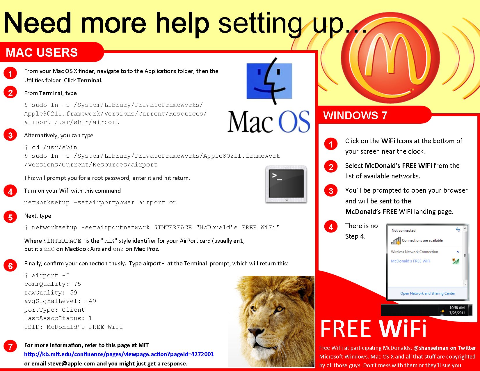 Updated for 2011 - McDonald's WiFi Guide with updates for Mac OS X