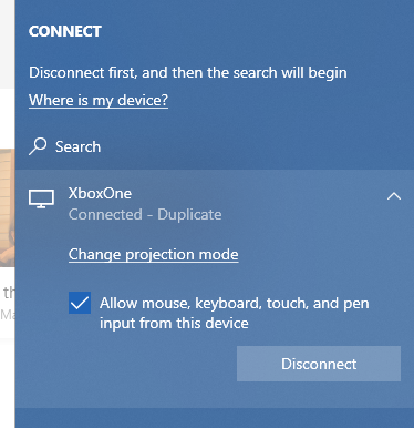 Connected to Xbox One
