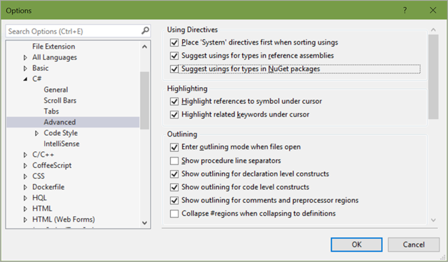 "I turn on ""Suggest usings for types in NuGet packages"" and ""Suggest usings for types in reference assemblies."""