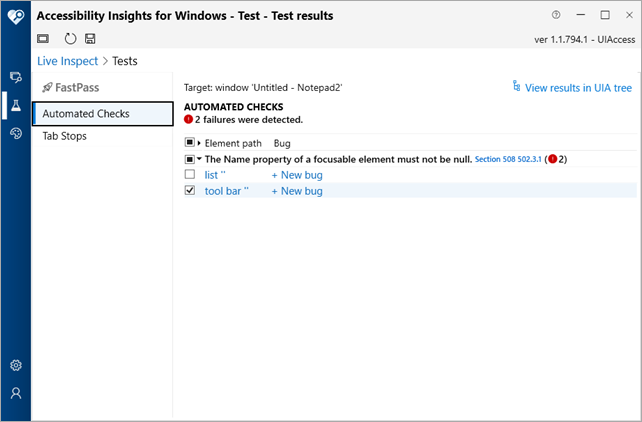 Test Results for Windows apps being checked for accessibility