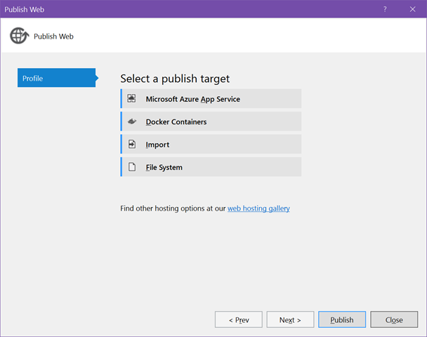 Docker Tools for Visual Studio