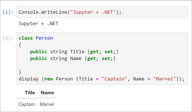 Example C# code in Jupyter Notebooks