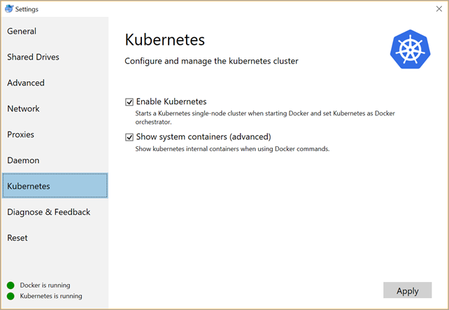 Enabling Kubernetes in Docker for Windows