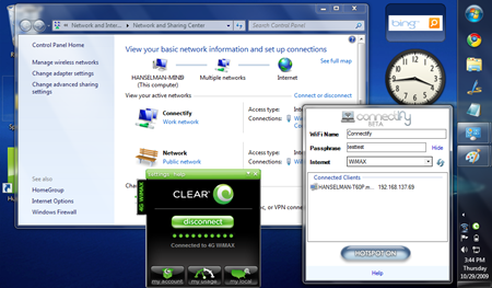 Screenshot of my Dell Mini 9 connected to Clear and using Connectify
