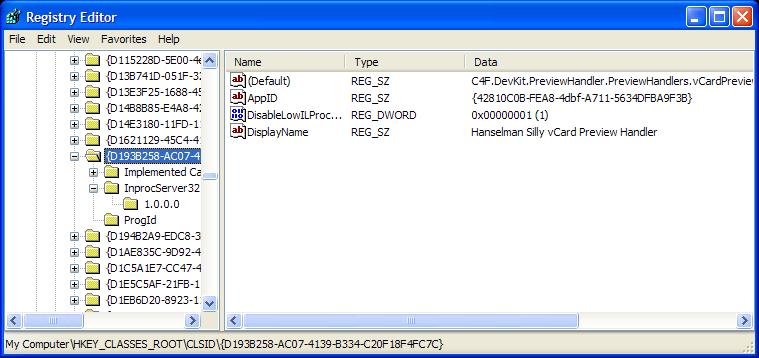 A vCard Preview Handler using the Coding4Fun DevKit - Scott Hanselman