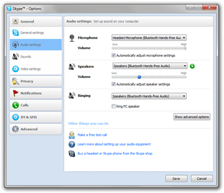 Skype - Options Dialog