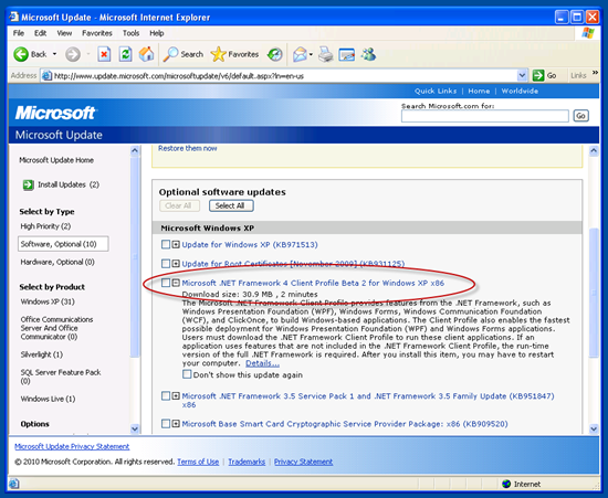 The .NET Framework 4 Client Profile Beta 2 being offered in Windows Update