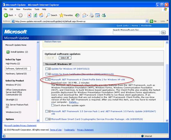 favor help us test net 4 beta 2 on windows update wu scott
