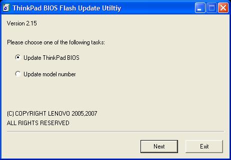 ThinkPad BIOS Flash Update Utiltiy