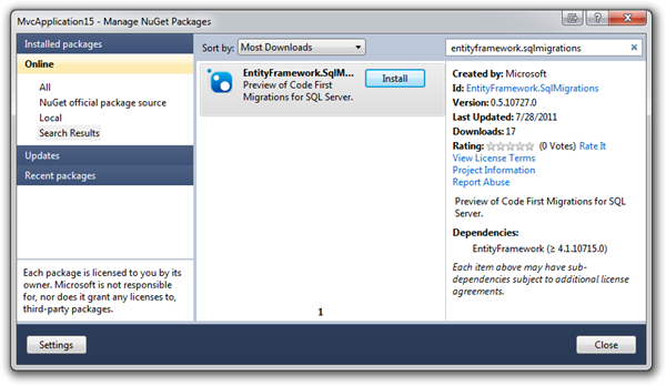 Entity Framework SQL Migrations In NuGet