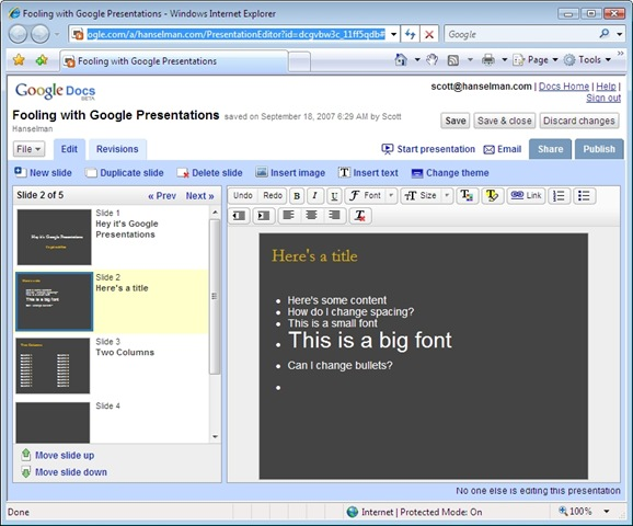 google presentations is out scott hanselman