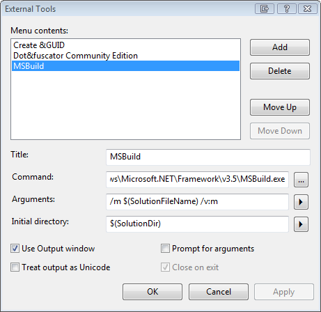 Adding MSBuild to External Tools