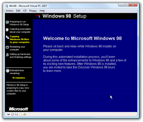Win98 - Microsoft Virtual PC 2007