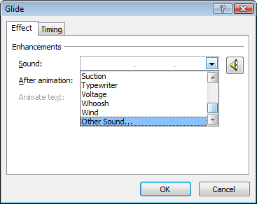 how to attach mp3 sound effects to powerpoint animation elements