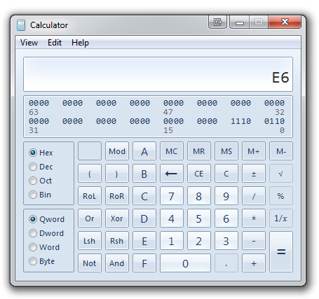 Calculator in Windows 7 - Being Awesome in Programmer Mode