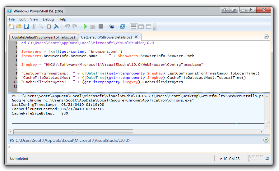 How to change the default browser in Visual Studio programmatically