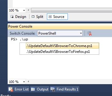 Powershell being awesome INSIDE Visual Studio 2010. Double Sun Power!!!!!