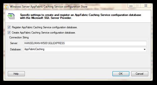 Windows Server AppFabric Caching Service configuration Store
