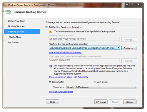 Windows Server AppFabric Configuration Wizard