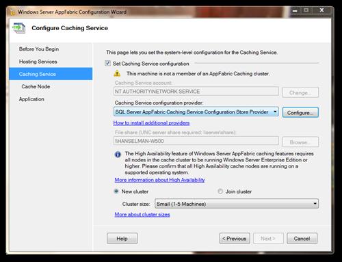 Windows Server AppFabric Configuration Wizard
