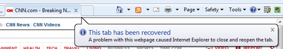 Balloon Help in IE8 telling me that a tab has been recovered