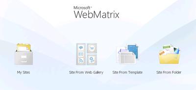 WebMatrix Starting Page