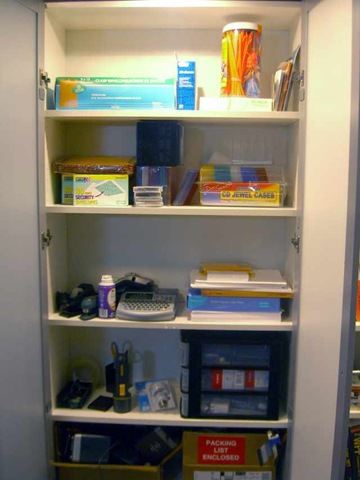 I Dedicated One Of The Shelves To Office Supplies And Put Some Doors On It.  I Really Feel If You Have An Office You Need All The Typical Supplies You  Never ...
