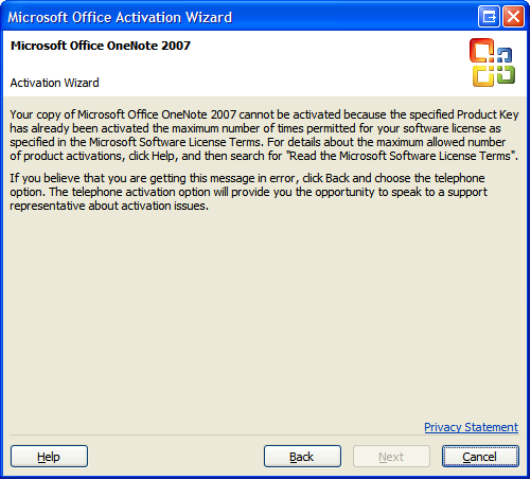 ms office professional 2007 activation wizard