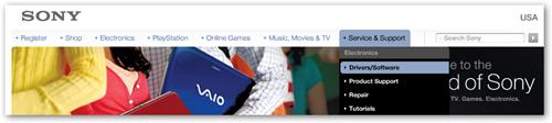 Sony Homepage 1