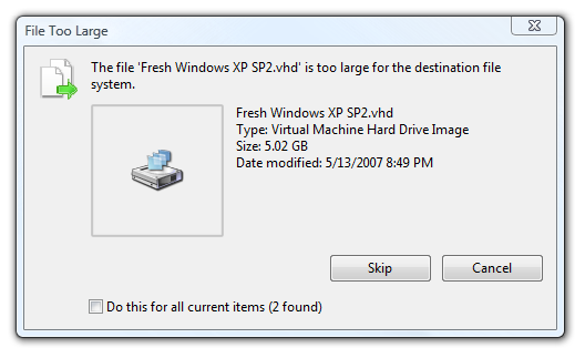 The Duh Files - The file is too large for the destination file