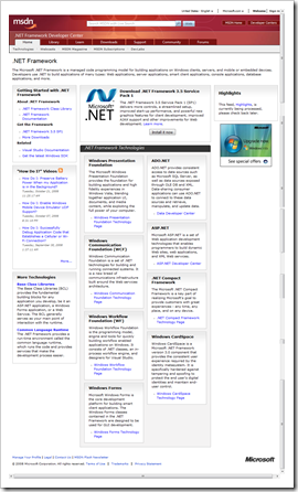 Screenshot of the .NET Framework page on MSDN
