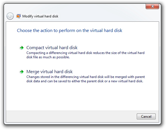 Modify virtual hard disk - Merge