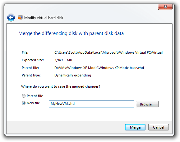 Modify virtual hard disk