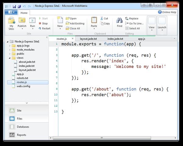 Node.js Express Site1 - Microsoft WebMatrix (76)