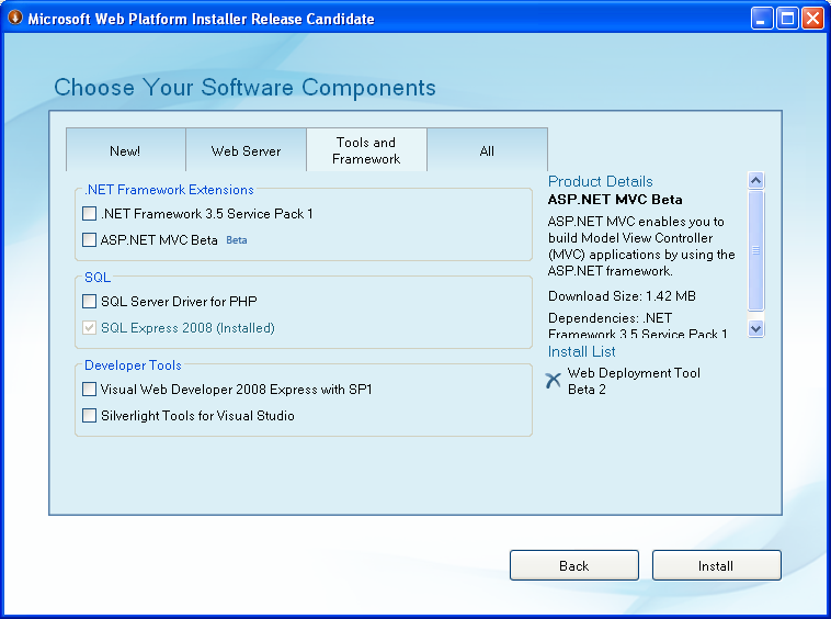 Web Platform Installer now supports XP - And the Master Plan