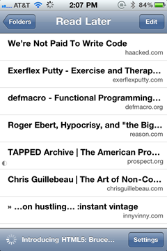 Instapaper in iPhone