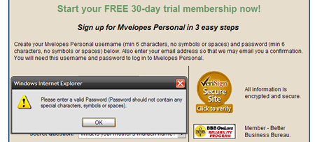 Password should not contain any special characters, symbols