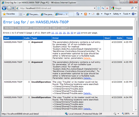 Error log for  on HANSELMAN-T60P (Page #1) - Windows Internet Explorer (2)