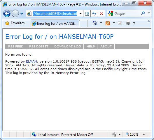 Error Log: ELMAH: Error Logging Modules And Handlers For ASP.NET (and
