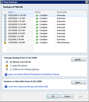 Home Server dialog showing a list of backups for my wife's computer