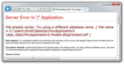 File already exists. Try using a different database name. [ File name = CUsersScottDesktop - Windows Internet Explorer